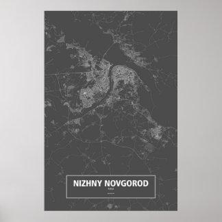 Nischni Nowgorod, Russland (weiß auf Schwarzem) Poster