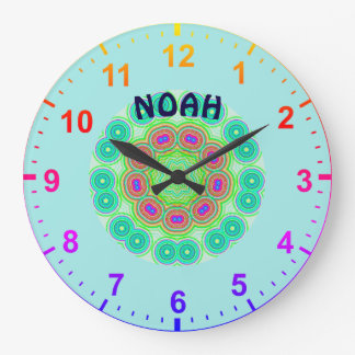 NOAH kreist personalisiertes ~ Kaleidoskop Fraktal Große Wanduhr