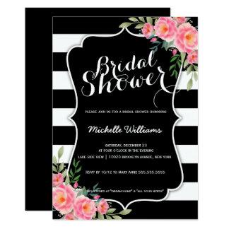 Noble Blumenstreifen-Brautpartyeinladung 12,7 X 17,8 Cm Einladungskarte