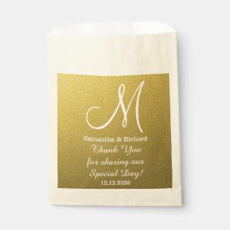 Noble GoldGlitter-Hochzeit danken Ihnen Monogramm Geschenktütchen
