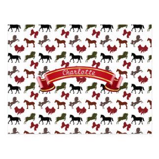 noble Pferde und Bogen-Muster-Gewohnheit Postkarte