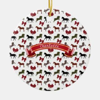 noble Pferde und Bogen-Muster-Gewohnheit Rundes Keramik Ornament