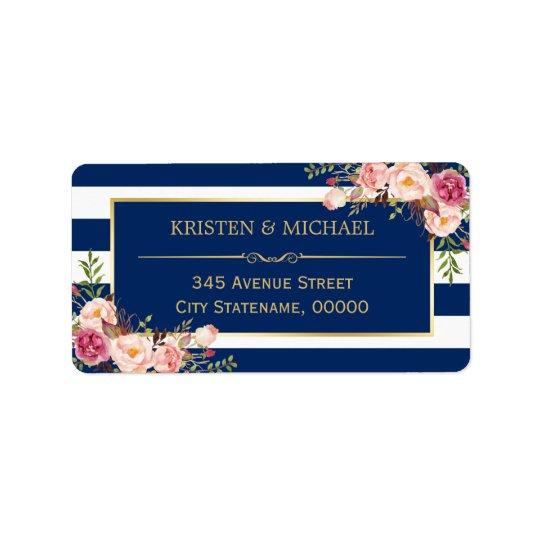 Noble rosa Blumengoldmarine-blaue Streifen Adressaufkleber