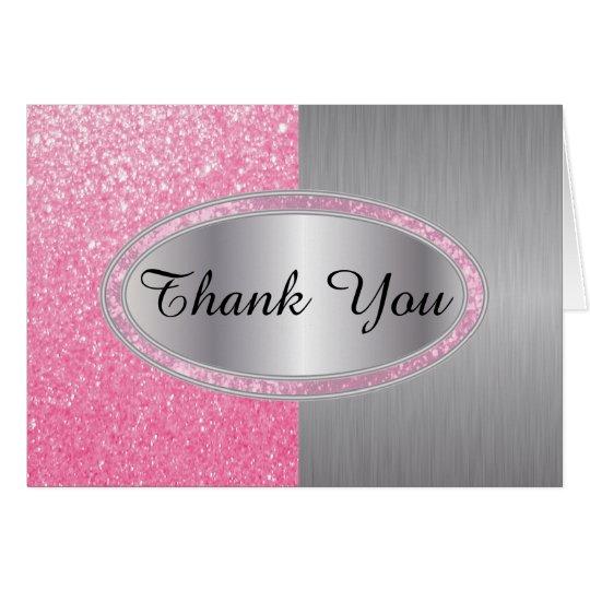 Noble rosa Glitzer-Bürste - danke Mitteilungskarte
