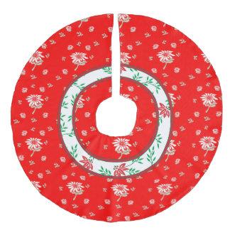Noble Vintage Retro rote mit Blumenpoinsettia Leinenimitat Weihnachtsbaumdecke