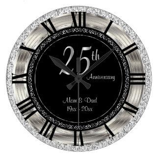 Nobler 25. silberner Jahrestag Große Wanduhr