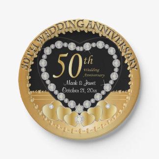 Nobler 50. goldener Hochzeitstag Pappteller 17,8 Cm