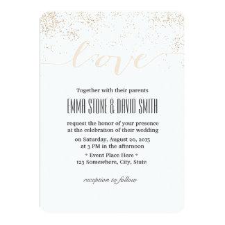 Nobler Confetti punktiert Skript-Liebe Wedding 12,7 X 17,8 Cm Einladungskarte