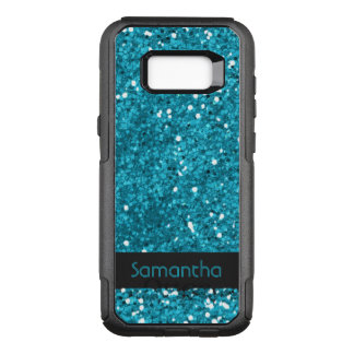 Nobler Imitat-Türkis-Blau-Glitter-Muster-Name OtterBox Commuter Samsung Galaxy S8+ Hülle