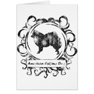 Nobler verwitterter amerikanischer Eskimohund Grußkarte