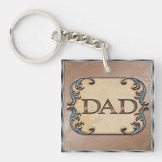 Nobles Brown u. blaue Vatertagsschlüsselkette Einseitiger Quadratischer Acryl Schlüsselanhänger