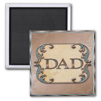 Nobles Brown u. blauer der Vatertags-Magnet Quadratischer Magnet