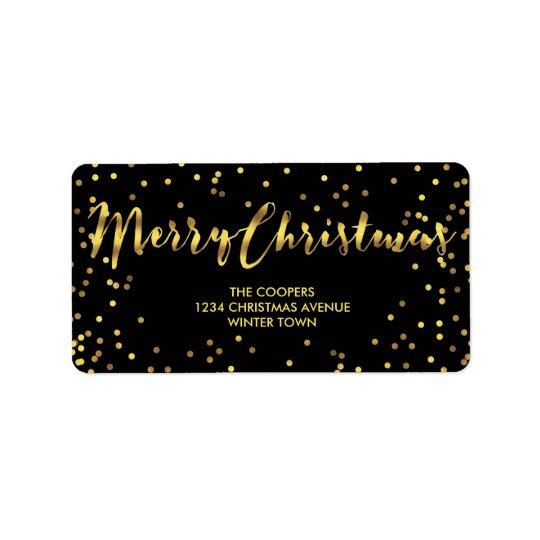 Nobles frohe Weihnacht-Goldfolieconfetti-Schwarzes Adressaufkleber