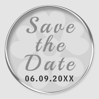 Nobles Silber Save the Date Runder Aufkleber