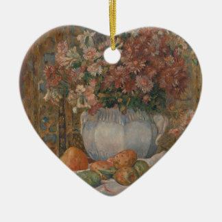 Noch Leben mit Blumen und stacheligen Birnen - Keramik Herz-Ornament
