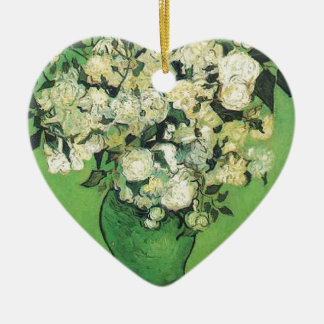 Noch Leben - rosa Rosen in einem Vase Vincent ein Keramik Herz-Ornament