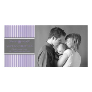 Noël barre le carte photo de Noël (pourpre/gris) Photocarte Customisée