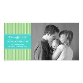 Noël barre le carte photo de Noël (vert/Teal) Photocartes
