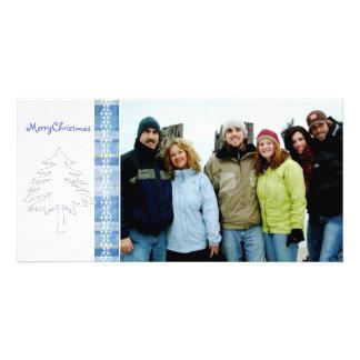 Noël bleu de pin et de flocon de neige de plaid Jo Cartes De Vœux Avec Photo