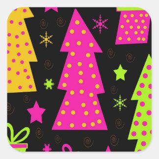 Noël coloré et espiègle sticker carré