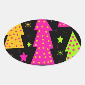 Noël coloré et espiègle sticker ovale