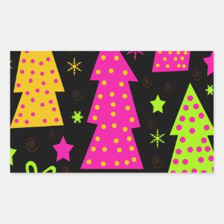 Noël coloré et espiègle sticker rectangulaire