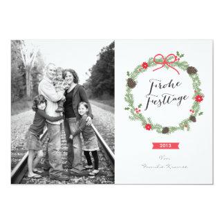 Noël couronne carte de photo carton d'invitation  12,7 cm x 17,78 cm