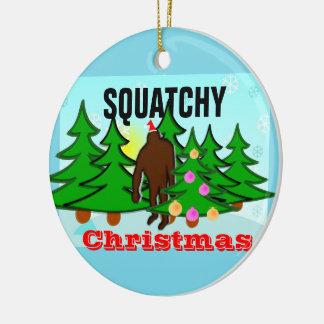 Noël de mauvais goût de Sasquatch de Noël de Ornement Rond En Céramique