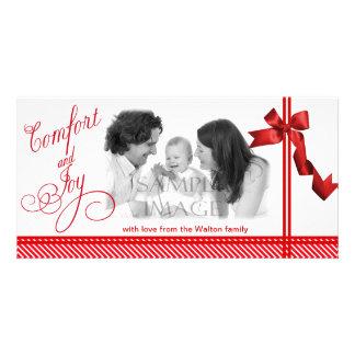 Noël de rouge de confort et de joie cartes avec photo