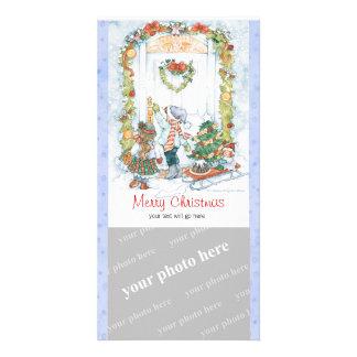 Noël démodé carte avec photo
