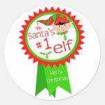 Noël drôle d'Elf de Père Noël Adhésif Rond