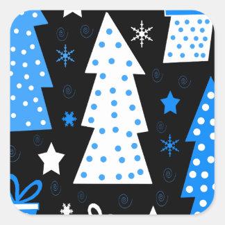 Noël espiègle bleu sticker carré