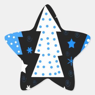 Noël espiègle bleu sticker étoile