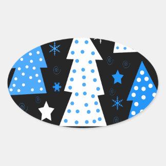 Noël espiègle bleu sticker ovale