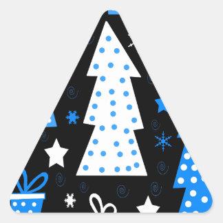 Noël espiègle bleu sticker triangulaire