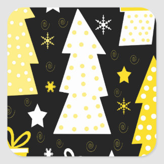 Noël espiègle jaune sticker carré