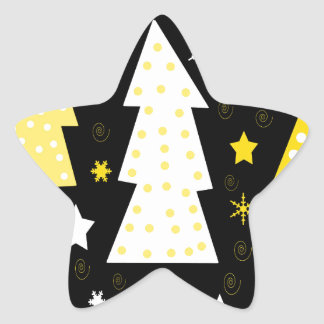 Noël espiègle jaune sticker étoile