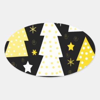 Noël espiègle jaune sticker ovale