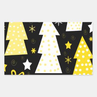 Noël espiègle jaune sticker rectangulaire