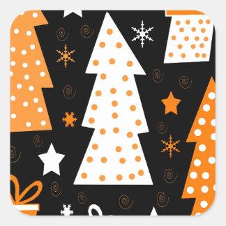 Noël espiègle orange sticker carré