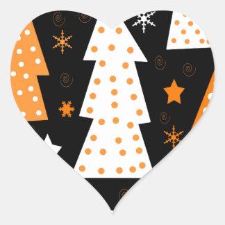Noël espiègle orange sticker cœur