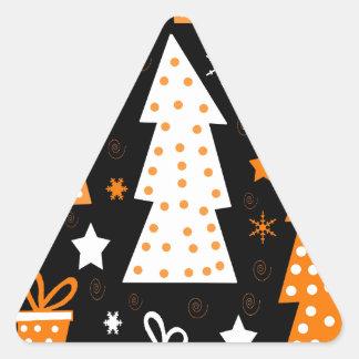 Noël espiègle orange sticker triangulaire
