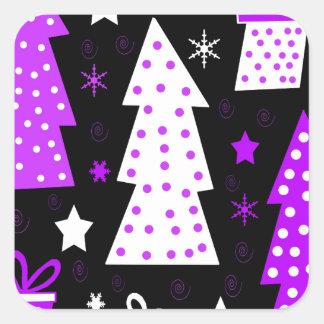Noël espiègle pourpre sticker carré
