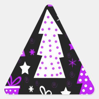 Noël espiègle pourpre sticker triangulaire