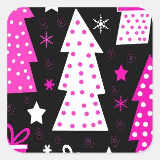 Noël espiègle rose sticker carré