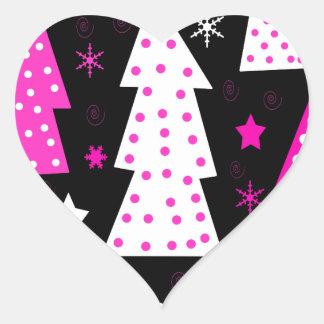 Noël espiègle rose sticker cœur