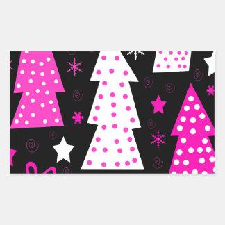 Noël espiègle rose sticker rectangulaire