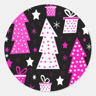 Noël espiègle rose sticker rond