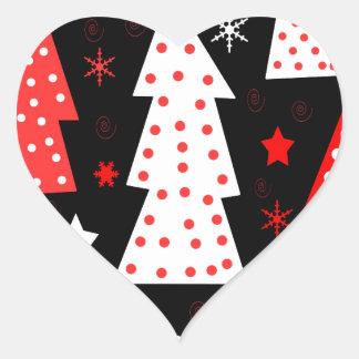 Noël espiègle rouge sticker cœur