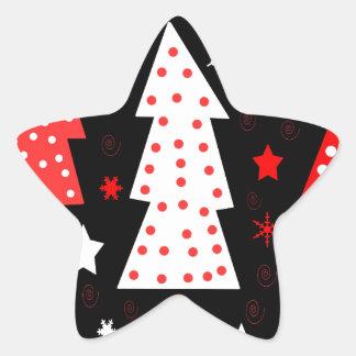Noël espiègle rouge sticker étoile